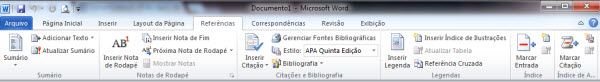 aba de referencias no word 2010