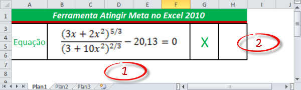 utilizando o excel 2010 para resolver equacoes