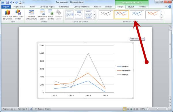 acessando a guia de contexto de graficos no Word 2010