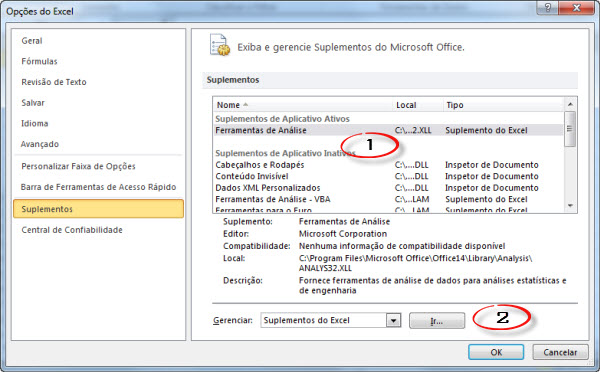 suplementos do excel 2010
