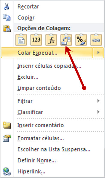 Transpondo no excel 2010