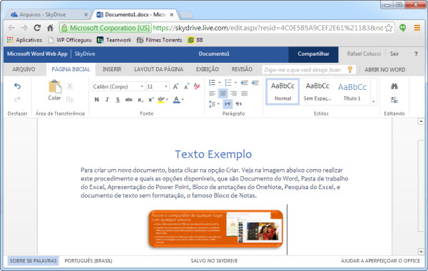 Texto no word web app