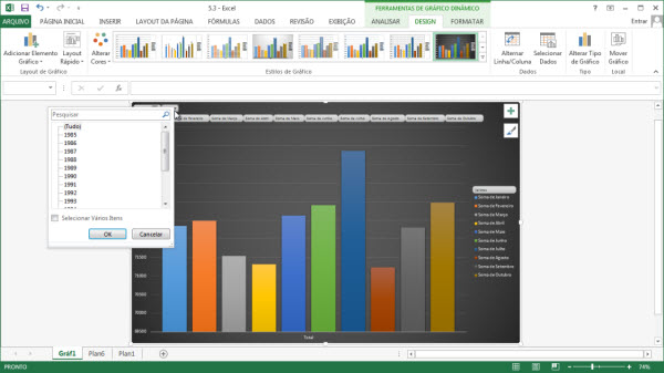 graficos dinamicos no excel 2013