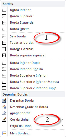opcoes de bordas